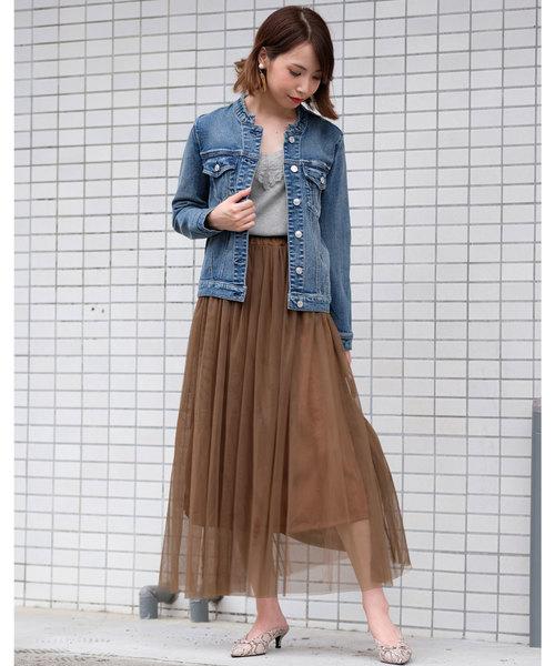 [ANDJ] チュールプリーツロングスカート
