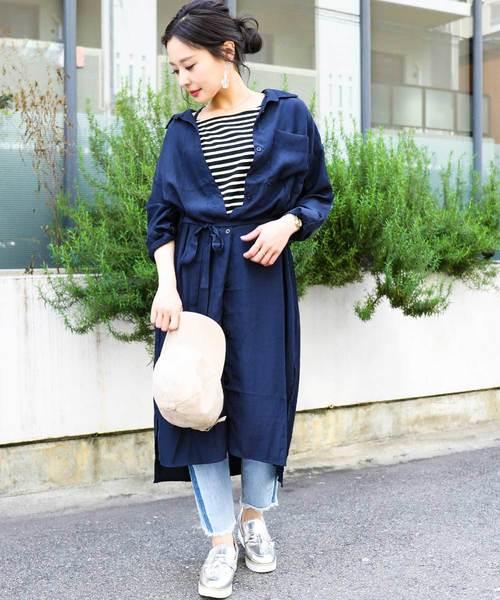 [Fashion Letter] レーヨン ベルト付き とろみ ロングシャツワンピース
