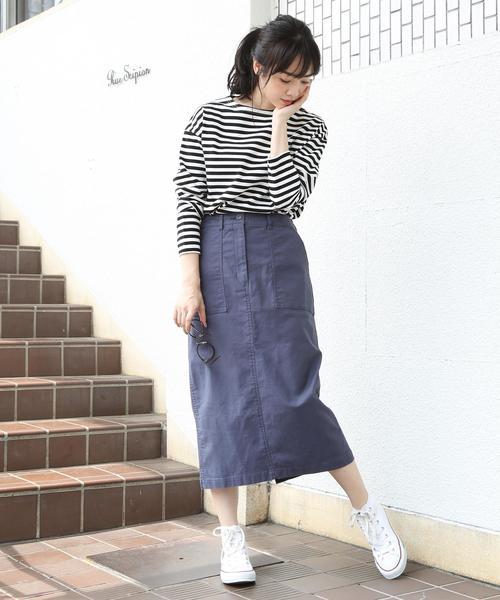 [coen] ベイカーストレッチロングタイトスカート