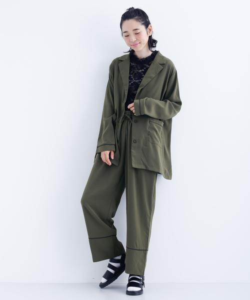 [merlot] 配色パイピングジャケット