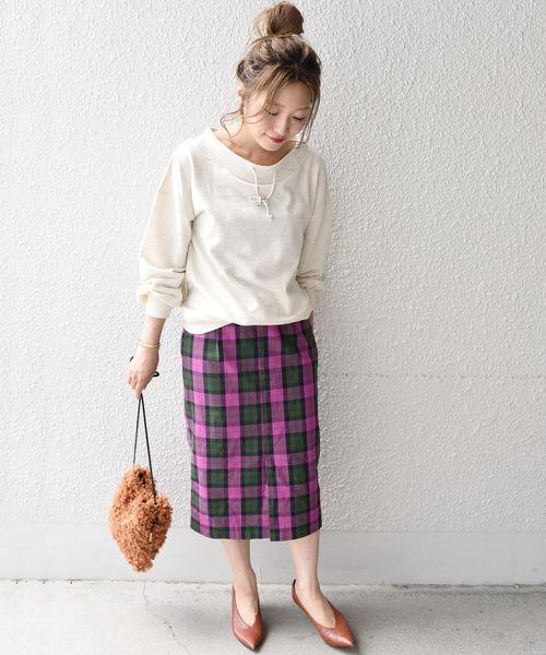 [SHIPS for women] Khaju:チェックタイトスカート◇