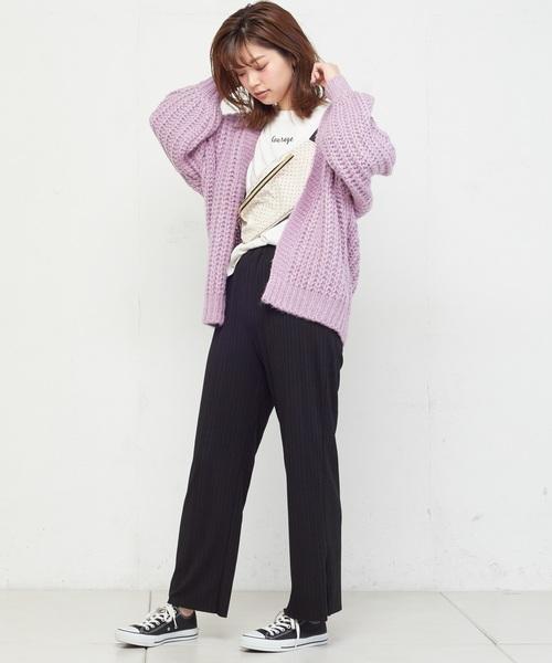 [natural couture] 棒針風ミドルカーディガン