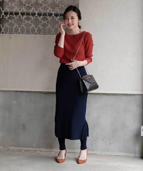 [GOUT COMMUN] ハイツイストリブスリットタイトスカート