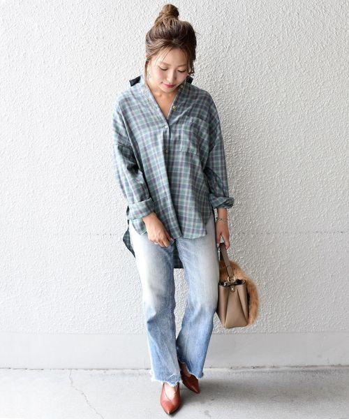 [SHIPS for women] Khaju:オーバーサイズチェックシャツ◇