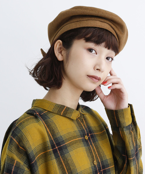 [merlot] ウール混ベルト付きベレー帽8111