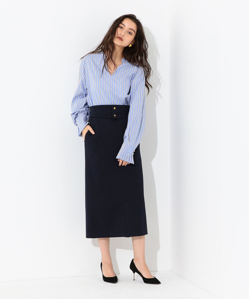 [Jewel Changes] SMF フルフラン ハイウエスト ベルトタイト スカート