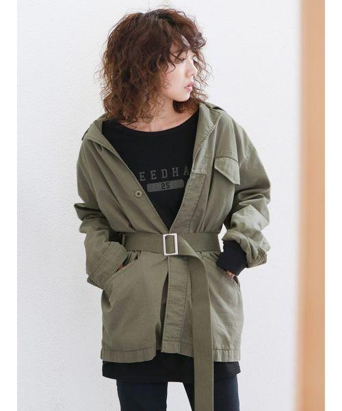 [Ungrid] ベルトコンビミリタリージャケット