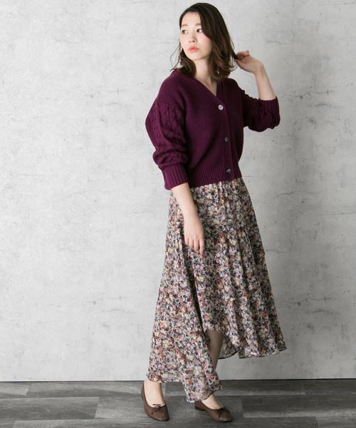 RESEARCH ROSSO WOMEN] ロンシャン花柄スカート