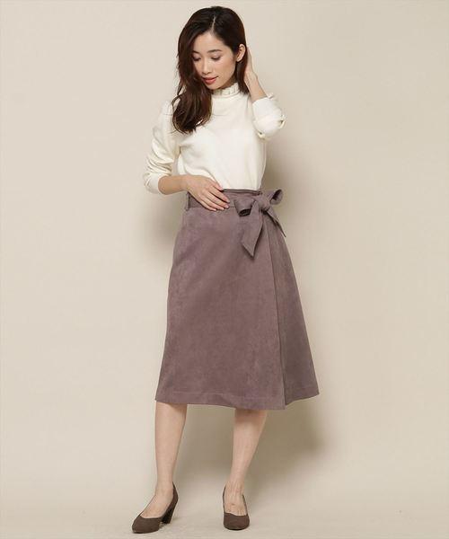 [Swingle] スエード巻き風タイトスカート