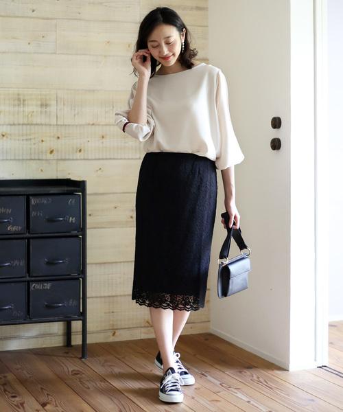 [Bou Jeloud] ≪2018AW新作≫ペンシルレースタイトスカート 光沢のあるレースが上品!ウエストゴムで履きやすい!