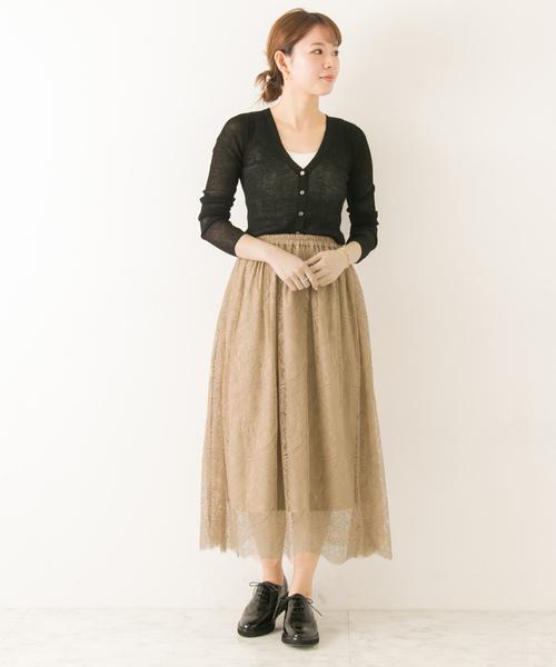 [URBAN RESEARCH] 【WEB限定】スカラップレースギャザースカート