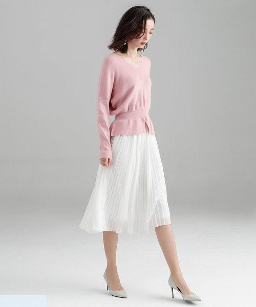 [SAISON DE PAPILLON] 11色4size裾フレアペプラムニットトップス