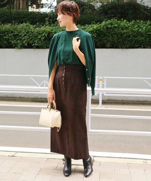 [IENA] ボタンフライモールタイトスカート◆