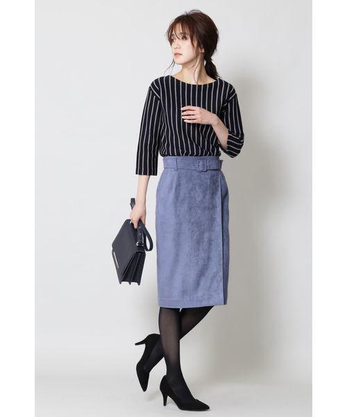 [BOSCH] ベルト付スエードスカート