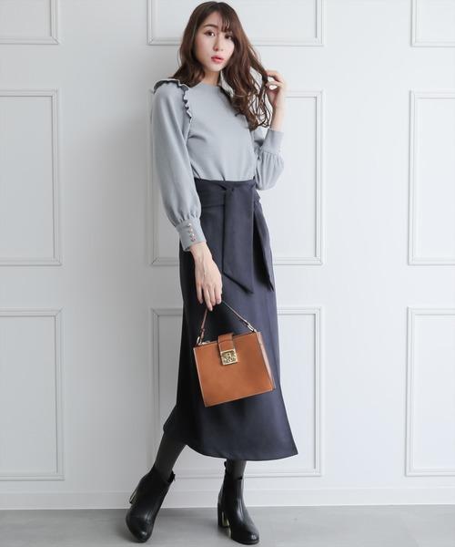 [clear] ウエストリボンミディ丈スウェードスカート/ボンディング