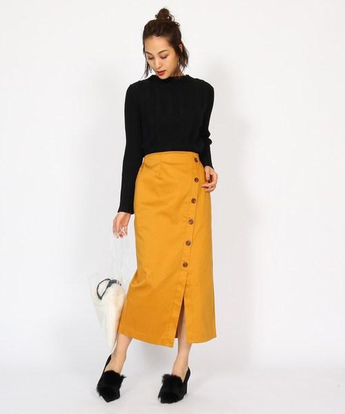 [aquagirl] フロントボタンタイトチノスカート