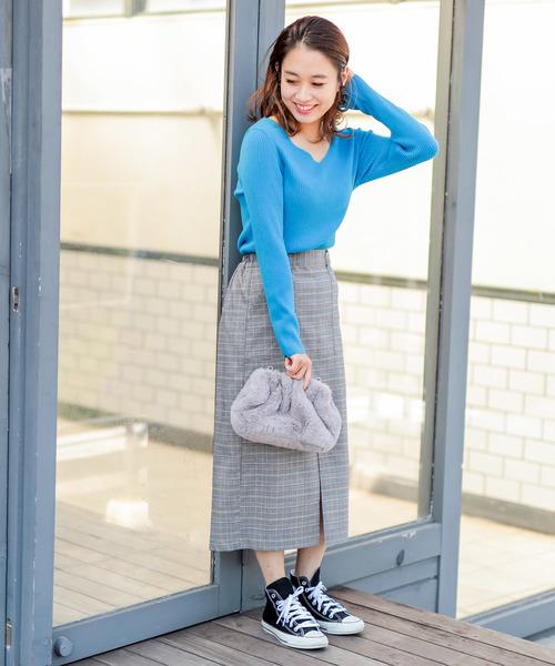 [Discoat] 【WEB限定】チェック柄ナロータイトスカート