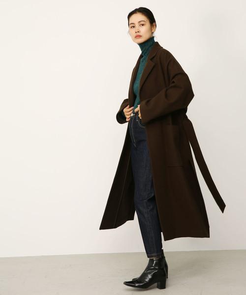 melton long slit coat