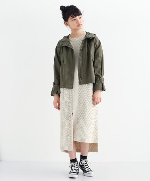 [merlot] 袖ベルトフーディミリタリージャケット