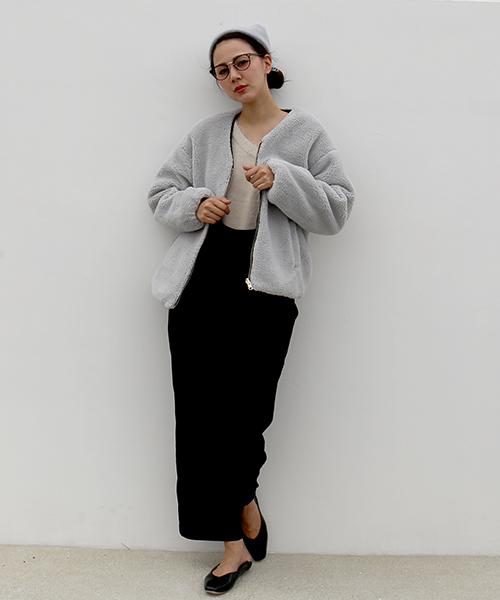 [MARLENE JOBERT] リバーシブルボア×中綿キルトジャケット