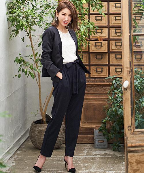 [GIRL] 【4点セット】【入学式・卒業式スーツ】ノーカラージャケット&レースブラウス&ウエストリボン付きパンツの4点セットアップスーツ・フォーマルスーツ