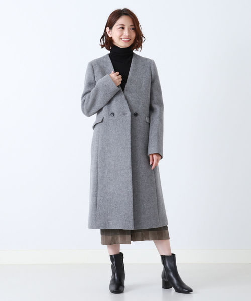 [BEAMS WOMEN] Demi-Luxe BEAMS / ノーカラー Vネックコート