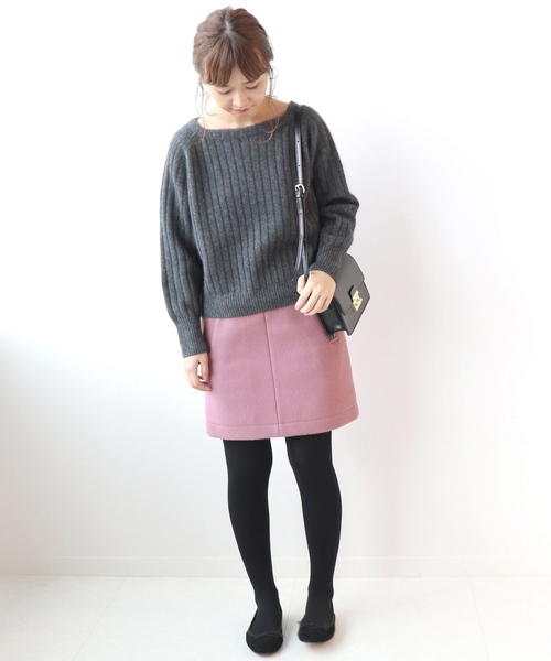 [IENA] メルトン台形スカート◆