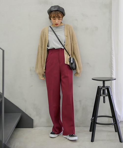 ハイウエストワイドパンツ/美形シルエット両ポケット付センターラインディテールワイドパンツ
