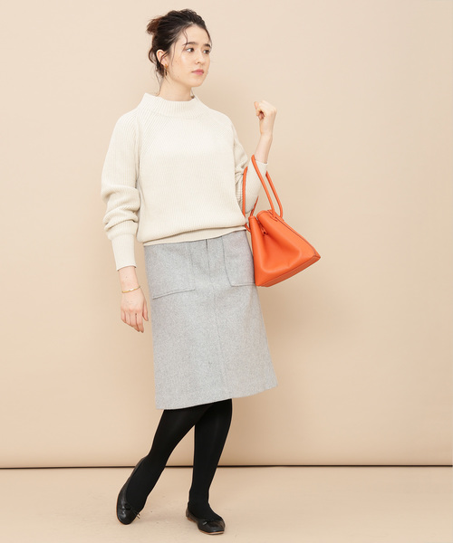 [ADAM ET ROPE'] ポケット付き台形スカート