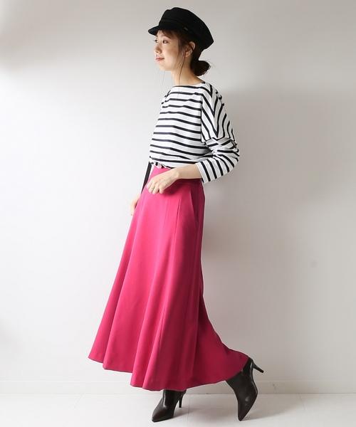 [Spick & Span] バックボタンフレアスカート