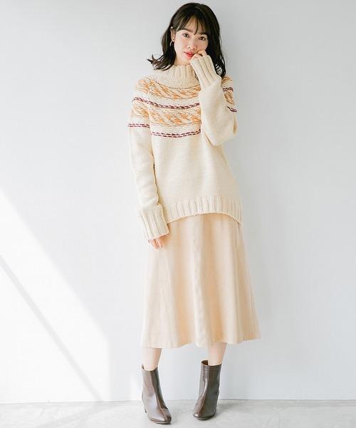 FスエードAラインスカート