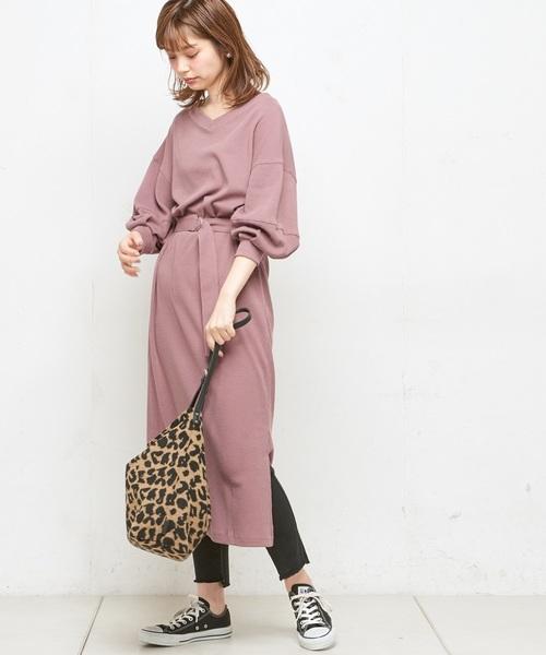 [natural couture] ボリューム袖ベルト付ワッフルワンピ