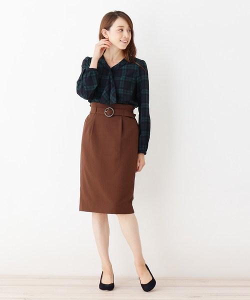 [index] 【洗える】ベルト付タイトスカート