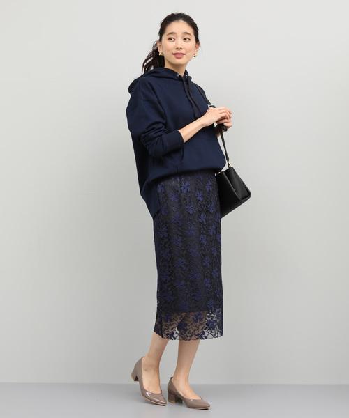 [ROPE'] マロウ刺繍レースタイトスカート