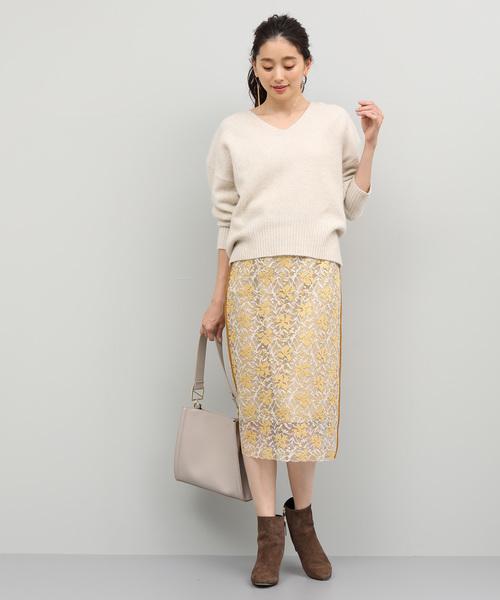 マロウ刺繍レースタイトスカート