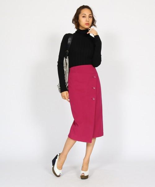 [aquagirl] ラップペンシルラインウールスカート