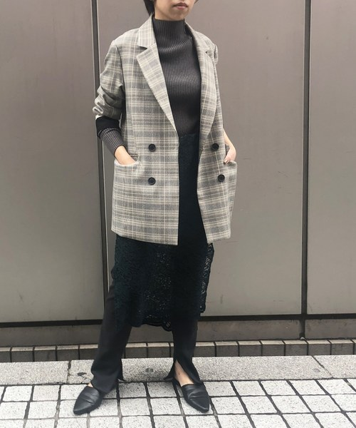[Eimee Law & WASH] 【Eimee Law】 【再入荷】袖ロゴラインテープチェックジャケット