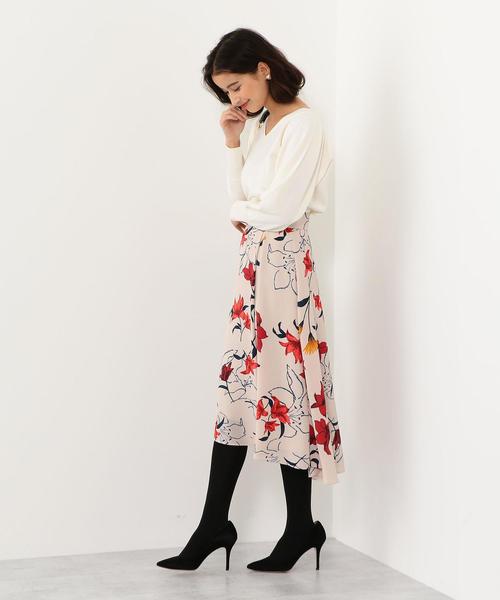 ハイウエスト Pツイル フラワープリントスカート / 花柄