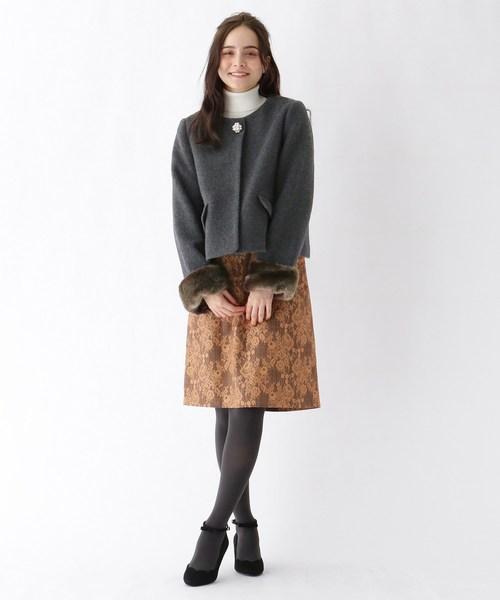 [Couture brooch] 3wayノーカラーパールボタンショートジャケット