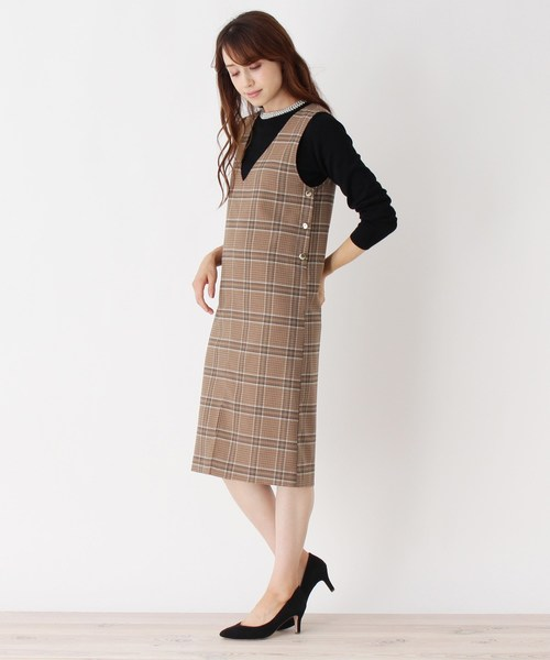 [index] 【洗える】チェック柄ジャンパースカート