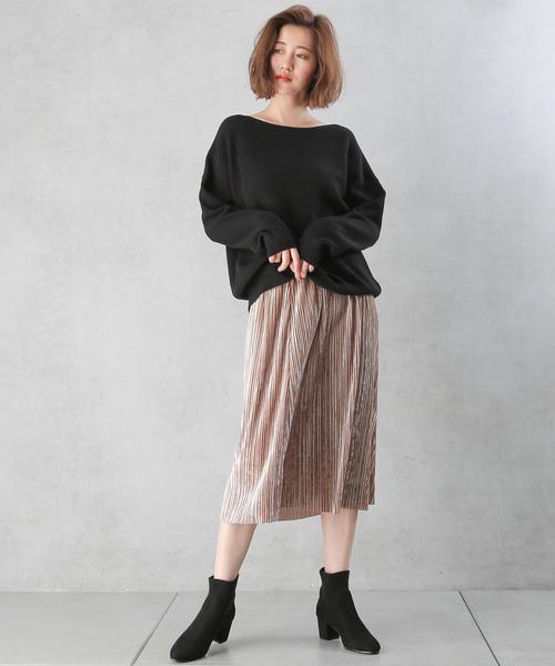 [Discoat] ベロアプリーツナロースカート