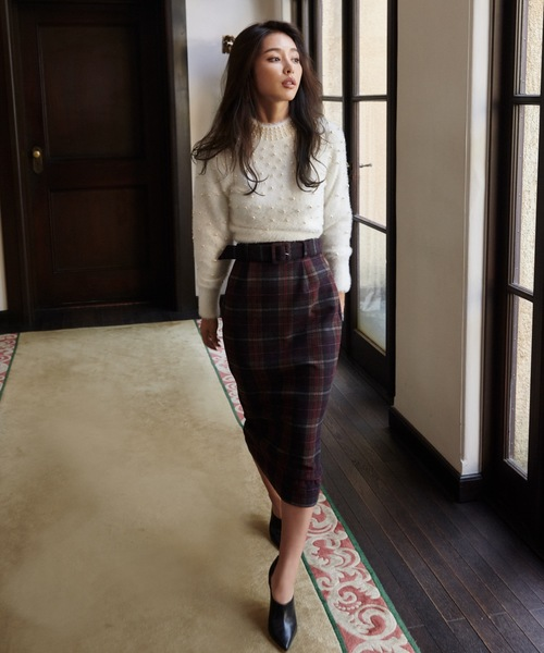 カラーチェックベルトタイトスカート