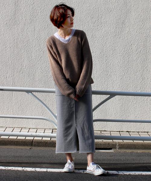 [STYLE AVENUE] ウール混裏毛スウェットスカート