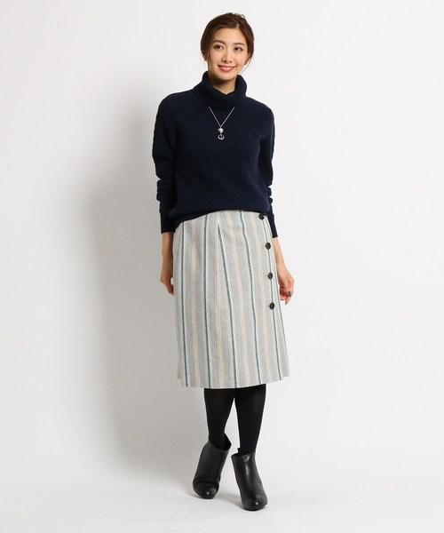 [Reflect] 【WEB限定カラーあり】ストライプツィードスカート