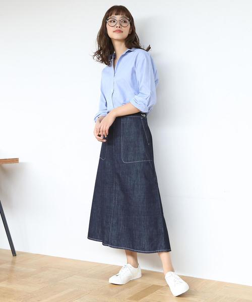 [coen] 【先行販売】USAコットンデニムフレアロングスカート