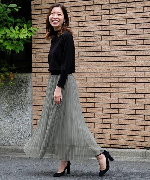 [STRAWBERRY-FIELDS] DVソフトチュール プリーツスカート