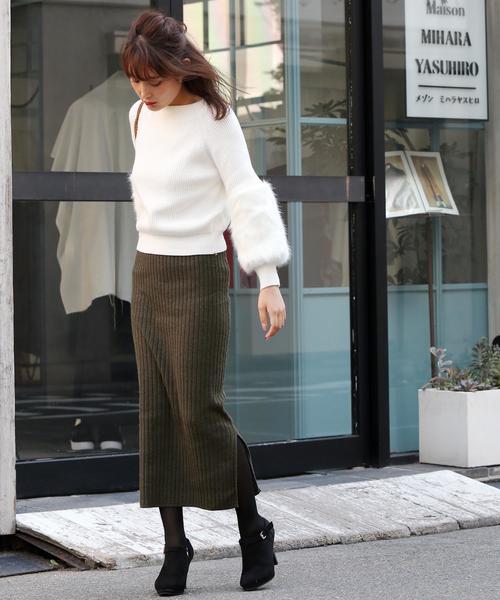 ハイウエスト スリットリブニットスカート(選べる丈2TYPE)