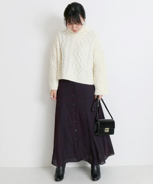 ドットフラワーフロントボタンスカート