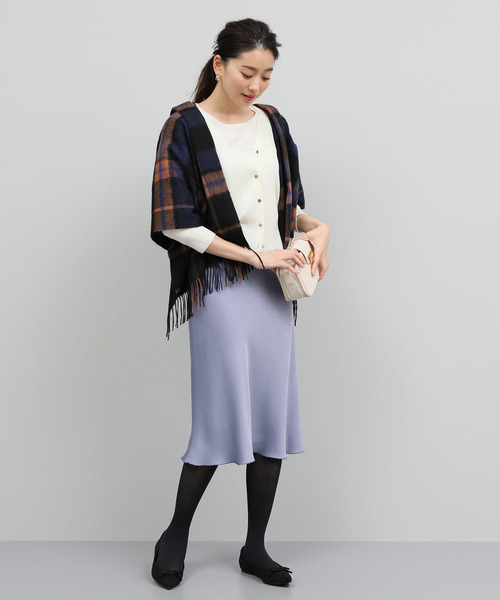 [ROPE'] 【お洗濯可能】ツヤサテンマーメイドスカート