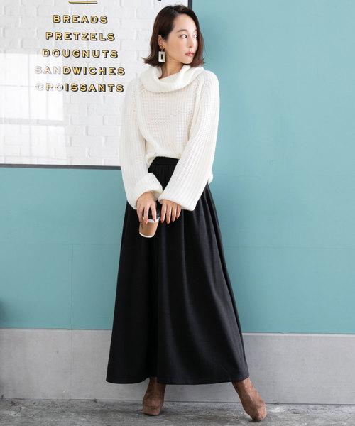 [夢展望] (スカート) 裏起毛シャギーロングマキシフレアスカート